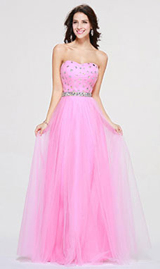 A-line Sweetheart Floor-length Tulle Prom Dress