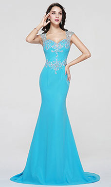 Trumpet/Mermaid Sweetheart Sweep/Brush Train Chiffon Prom Dress