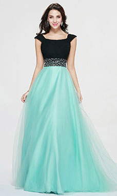 A-line Bateau Floor-length Tulle Prom Dress