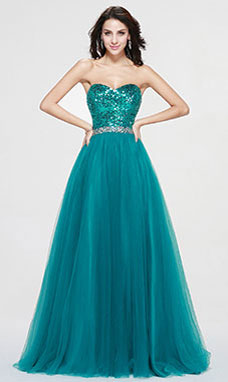 A-line Sweetheart Floor-length Sequins Evening Dress