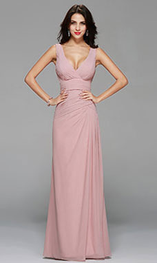 Sheath/Columnn V-neck Floor-length Chiffon Prom Dress