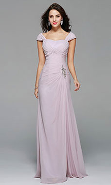 Sheath/Columnn Strapless Floor-length Chiffon Bridesmaid Dress