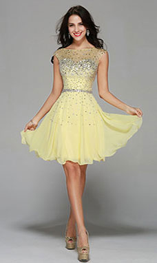 Princess Strapless Knee-length Chiffon Prom Dress