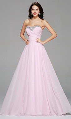 A-line Strapless Floor-length Chiffon Prom Dress