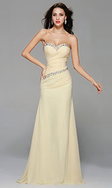 Sheath/Columnn Sweetheart Floor-length Chiffon Evening Dress