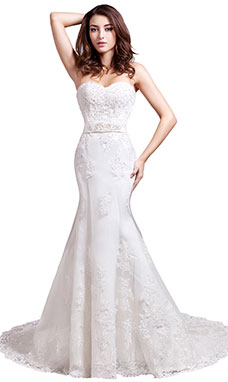 Trumpet/Mermaid Sweetheart Sweep/Brush Train Lace Wedding Dress