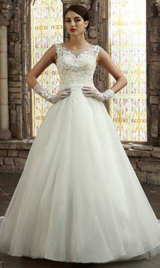 A-line Bateau Sweep/Brush Train Organza Wedding Dress