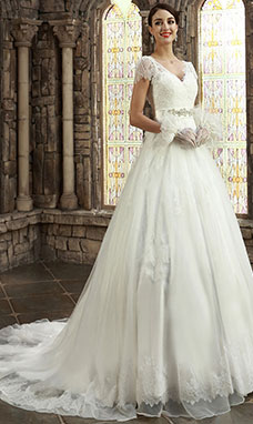 A-line V-neck Court Train Tulle Wedding Dress