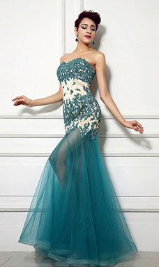 Sheath/Columnn Sweetheart Floor-length Tulle Evening Dress