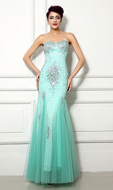 Sheath/Columnn Sweetheart Floor-length Tulle Prom Dress