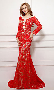 Trumpet/Mermaid Scoop Court Train Lace Evening Dress