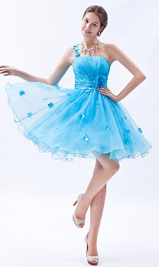 Princess One Shoulder Short/Mini Organza Prom Dress