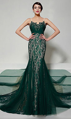 Trumpet/Mermaid Sweetheart Sweep/Brush Train Lace Evening Dress