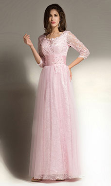 A-line Scalloped-Edge Floor-length Tulle Evening Dress