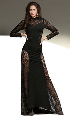 Sheath/Columnn Scoop Sweep/Brush Train Lace Evening Dress