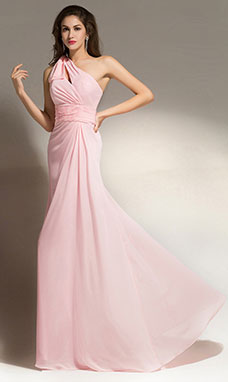 Sheath/Columnn One Shoulder Floor-length Chiffon Bridesmaid Dress