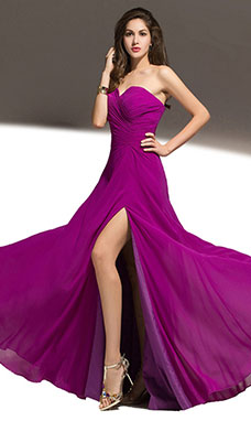 Sheath/Columnn Sweetheart Floor-length Chiffon Bridesmaid Dress