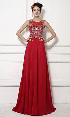 A-line Scoop Sweep/Brush Train Chiffon Evening Dress