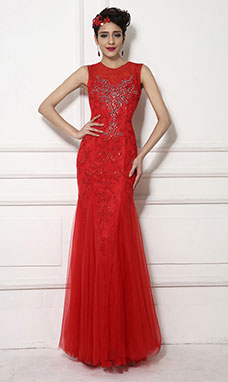 Sheath/Columnn Scoop Floor-length Tulle Evening Dress