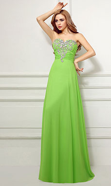 Sheath/Columnn Sweetheart Floor-length Chiffon Prom Dress