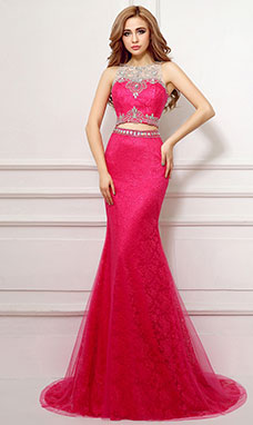 Trumpet/Mermaid Bateau Sweep/Brush Train Lace Prom Dress