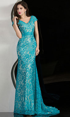 Sheath/Columnn V-neck Sweep/Brush Train Lace Evening Dress