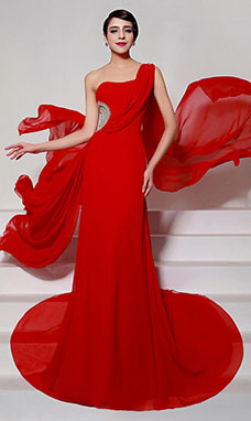 Sheath/Columnn One Shoulder Court Train Chiffon Evening Dress