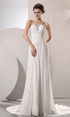 A-line Strapless Sweep/Brush Train Chiffon Wedding Dress