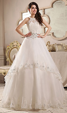 Ball Gown Halter Floor-length Organza Wedding Dress