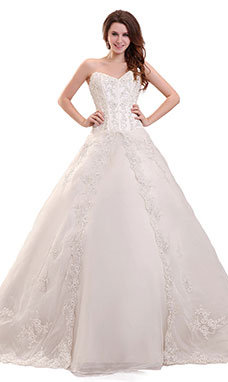 Ball Gown Sweetheart Court Train Lace Wedding Dress