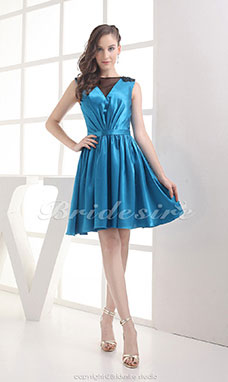 A-line Scoop Short/Mini Sleeveless Elastic Silk-like Satin Dress