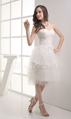 A-line Strapless Knee-length Sleeveless Tulle Dress