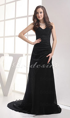 A-line Sheath/ColumnStrapless Court Train Chapel Train Sleeveless Chiffon Dress