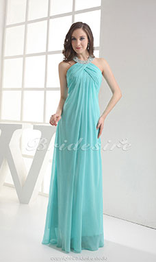 Sheath/Column Halter Floor-length Sleeveless Chiffon Dress