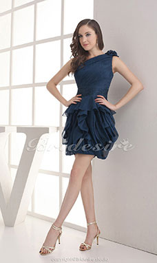 Ball Gown One Shoulder Short/Mini Sleeveless Chiffon Dress