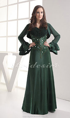 Sheath/Column Spaghetti Straps Sweetheart Floor-length Long Sleeve Chiffon Mother of the Bride Dress