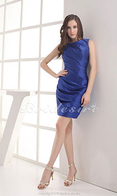 Sheath/Column Scoop Short/Mini Sleeveless Stretch Satin Dress