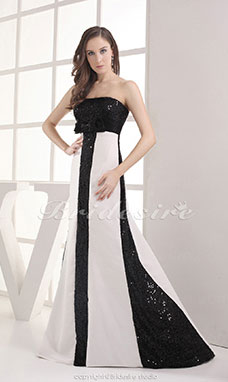Sheath/Column Strapless Floor-length Sleeveless Satin Sequined Dress