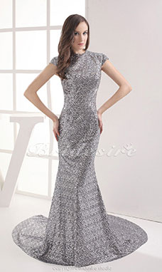 Sheath/Column Scoop Chapel Train Short Sleeve Sequined Dress