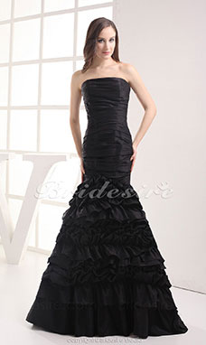 Trumpet/Mermaid Strapless Sweep Train Sleeveless Taffeta Dress
