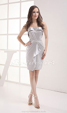Sheath/Column Strapless Short/Mini Sleeveless Stretch Satin Dress