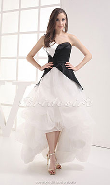 Ball Gown Strapless Asymmetrical Ankle-length Sleeveless Satin Organza Dress