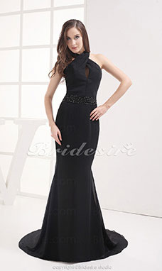 Trumpet/Mermaid Halter Sweep Train Sleeveless Chiffon Dress