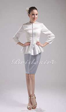 Sheath/Column Scoop Short/Mini Long Sleeve 3/4 Length Sleeve Stretch Satin Mother of the Bride Dress