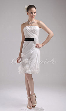 Sheath/Column Strapless Short/Mini Sleeveless Taffeta Bridesmaid Dress