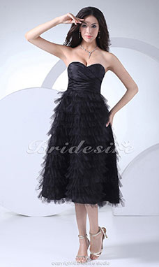 A-line Sweetheart Tea-length Sleeveless Taffeta Dress