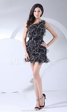 Sheath/Column One Shoulder Short/Mini Sleeveless Organza Dress