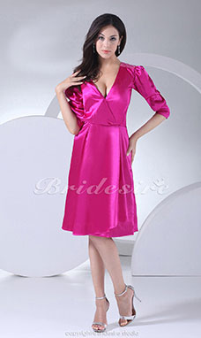 Sheath/Column V-neck Knee-length Half Sleeve Stretch Satin Mother of the Bride Dress
