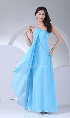 Sheath/Column One Shoulder Floor-length Sleeveless Chiffon Dress