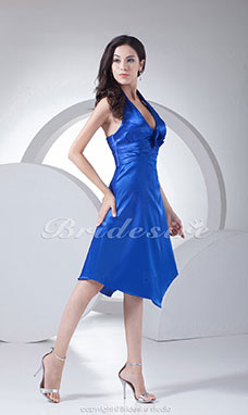 A-line V-neck Halter Knee-length Sleeveless Stretch Satin Dress